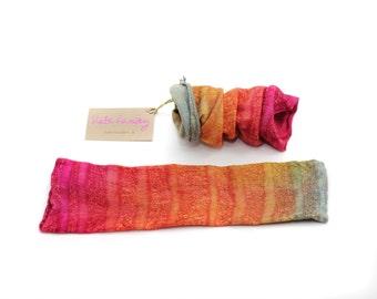felted, felt, mittens, gloves,  wrist, warmers, wool, cuffs,  silk, pink, orange, khaki