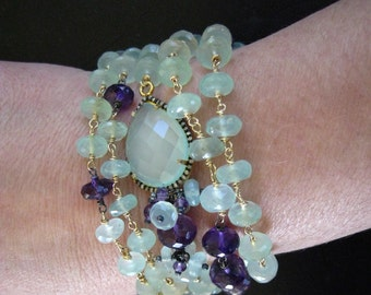 Gemstone Layering Necklace-Aqua Chalcedony, Pave Diamond, and Amethyst Necklace