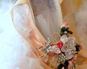 Pointe Toe Shoe Assemblage Altered Mixed Media Art Shabby Chic Style