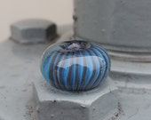 Blue Pleated Big Hole Bead BHB Handmade Lampwork Glass Bead