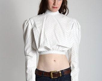 ON SALE Victorian Polka Dot Top . White Cotton Blouse