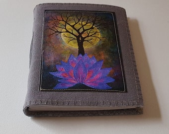 base of change journal -  purple lotus, tree, moon canvas print on waxed gray canvas cover mid size journal