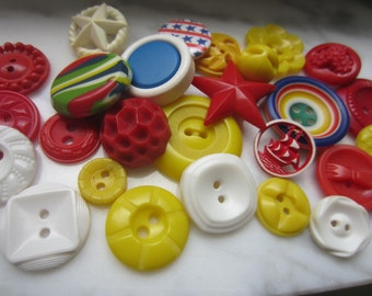 Vintage Buttons - Cottage chic mix of red, yellow and white lot of 28, old and sweet( july 15)