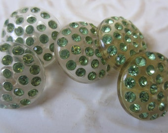 Vintage Buttons -  beautiful lot of 5 matching, medium size  green rhinestones set in  Lucite 1950's (oct 23b)
