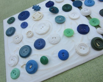 Vintage Buttons - Cottage chic mix of blue, green and white lot of 59 old and sweet(apr301b)