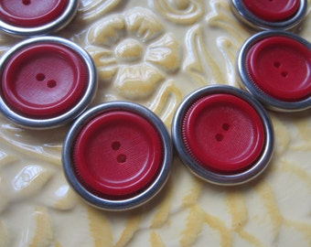 Vintage Buttons - 1940-1950's novelty celluloid and silevr metal, lot of 6 matching large red and old and sweet( june 91c)