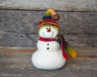 Needle Felted Snowman | felted wool snowmen | Christmas Decor  778