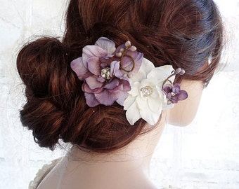 bridal hair clip, purple hair flower, bridal flower hair clip, floral hair comb, purple wedding, purple headpiece,  wedding flower hair