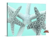 Canvas Print, Starfish Decor, Bath Decor, Starfish Art, Blue Bathroom Wall Decor, Home Decor, Seashell Art, Fine Art Photograph