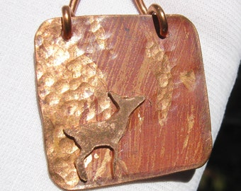 Canemah Studios Flame Painted Hand Forged Copper Deer Pendant