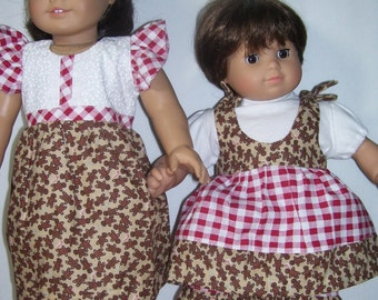 """Big Sis,Lil' Sis Matching Outfits..18"""" &15"""" Doll clothing-Free Shipping"""