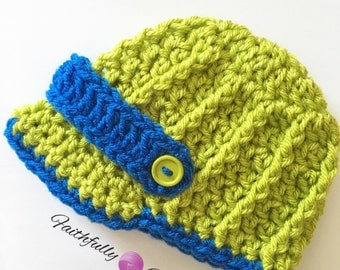 Newborn brim hat.. Lime green and blue.. Newsboy hat.. Photo prop.. Ready to ship