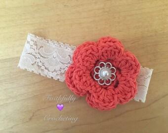 Newborn headband.. Coral flower.. Photography prop.. Ready to ship