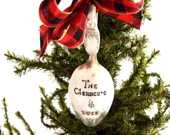 Personalized Family Ornament Holiday Silverware Christmas Spoon Hand Stamped Silverware Spoons Customized Ornament Cutlery Tree Decoration