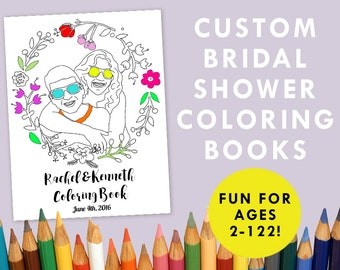 Custom Bridal Shower Coloring Book, 9 page Printable Adult Coloring Book, Personalized Wedding Shower Activity, Downloadable Digital File