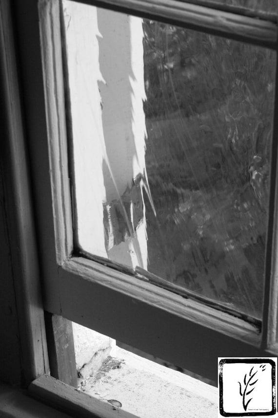 B&W Photograph, fine art, photo print, wall art, home decor, old window, windowsill, Walt Whitman, poetry, haiku, Long Island, New York