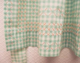 Vintage Apron - Mint Gingham Apron - Cross Stitches - Cottage Chic Kitchen Apron