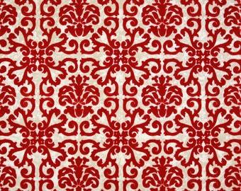 1970s Retro Vintage Wallpaper Red Flocked Geometric on Metallic Gold by the Yard