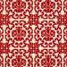 1970s Retro Vintage Wallpaper Red Flocked Geometric on Metallic Gold