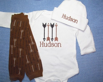 Baby Boy Coming Home Outfit Baby Boy Clothes Bodysuit Hat Newborn Leg Warmers Arrow Leggings Personalized Embroidered Baby Clothing Monogram