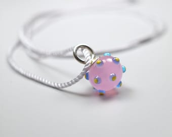 Glass Bead Necklace // Pink Glass Charm // Glass Bead // Necklace With Murano Glass Pendant
