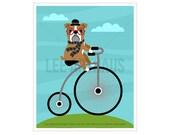 128D Bicycle Art Print - English Bulldog on Penny Farthing Bicycle Wall Art - Dog Print - British Bulldog Drawing - Bulldog Illustration