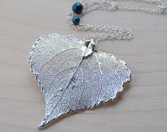 Large Silver Cottonwood Leaf Necklace | REAL Cottonwood Leaf Pendant | Silver Heart Leaf Jewelry | Nature Jewelry