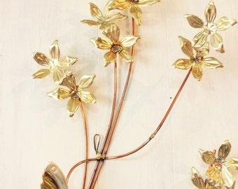 brass wall sculptures - mid century metal wall decor - butterfly dogwood blossom