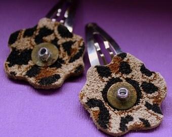Leopard Print Flower Hair Clips - Flower Barrette - Leather