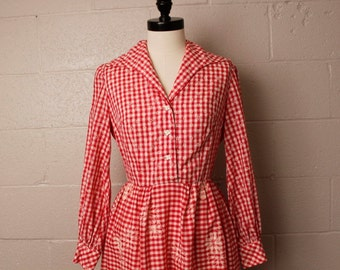 Vintage 1960's Red Gingham Checkered Shirtwaist Dress S