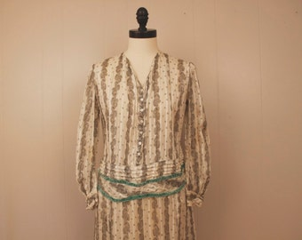 Vintage 1920's Sheer Cotton Drop Waist Dress White Black