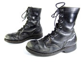 vintage 1960s black leather COMBAT boots military issue work GRUNGE lace up ankle mens 7 womens 8 1/2 VIETNAM era U S A  punk metal biker