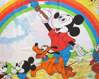 Vintage Mickey Mouse and Friends Twin Flat Sheet - Painting Rainbows