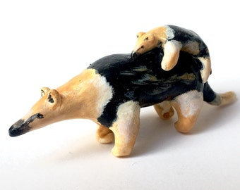 Anteater and baby polymer clay totem