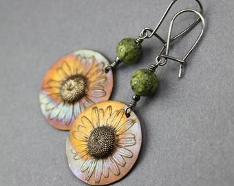Summer flowers - bronze and silver earrings with serpentines