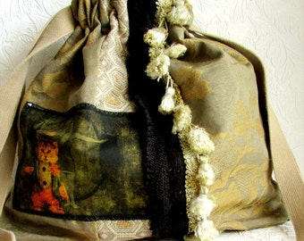 Green Gold Brocade Fringed Boho Handbag