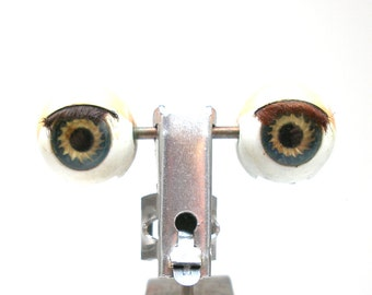 "Antique Doll EYES, Hazel glass with metal on rocker, 5/8""  blinking eyes, sleepy eyes."
