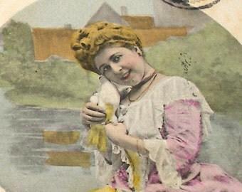 1905 French Postcard, Edwardian Lady with birds, RPPC real photo postcard, paper ephemera.
