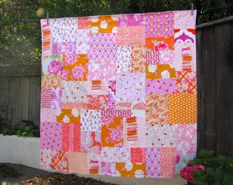 46x46 Princess & the Pea Random Patchwork and Minky Blanket Ready to Ship