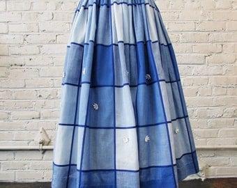 "1950s Blue Plaid Full Swing Rockabilly Skirt with Daisy Appliqués, 26"" waist"