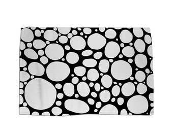 Custom Modern Art Rug XL Black White Decor Rug, Mod Throw Rug, Contemporary,