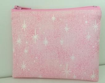 Pink Sparkle Coin Purse - Glitter Cotton Change Purse - Small Zipper Pouch