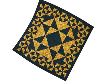 Quilted Table Topper Gold and Black Sawtooth Star Modern Patchwork