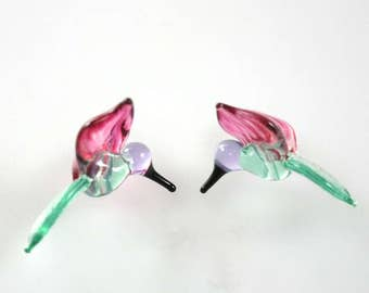 Lampwork Beads Glass Hummingbird Beads Peacock Green and Cranberry Pink Hummingbird Beads RC Art Glass