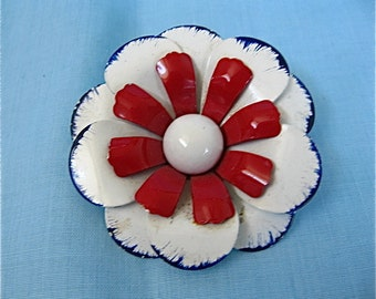 Red, White, and Blue Flower Pin