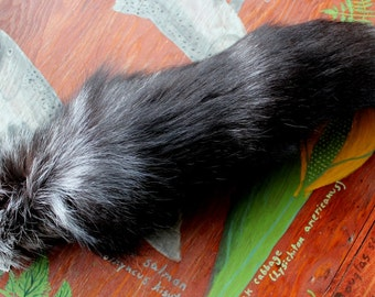Fox tail - real LONG eco-friendly silver fox fur totem dance tail on carabiner keychain for shamanic ritual and dance SV03