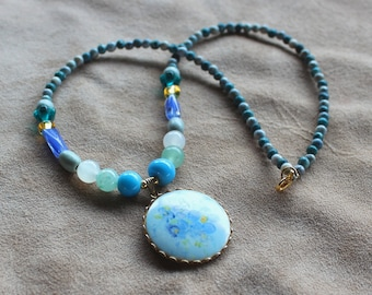 Flower Necklace - vintage porcelain flower pendant on necklace with blue glass and stone beads choker