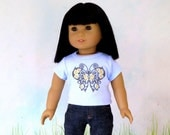 Iron Butterfly, Light Blue Tee Shirt, fits American Girl, Doll Clothes