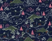 Tokyo Train Ride - Countryside Navy - Cotton + Steel - Sarah Watts - Available in Yards, Half Yards, Fat Quarters 2011-2