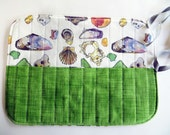 Pencil and Brush holder, roll up style.  shells with green